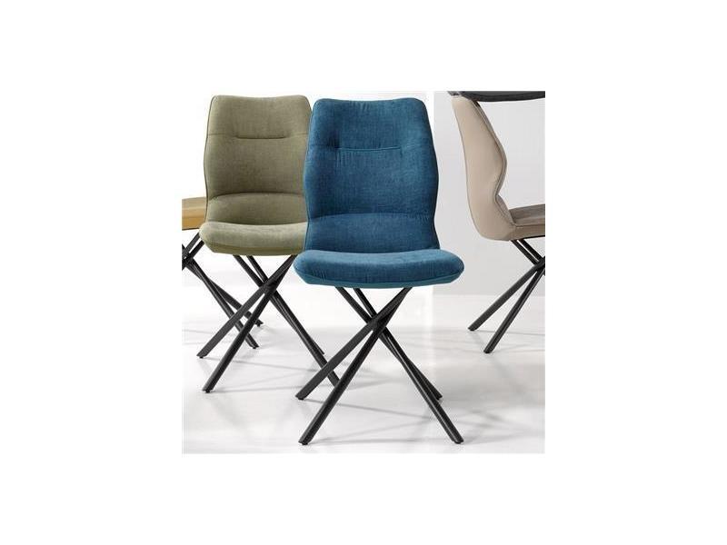 Chaise Salle A Manger Bleue Design Ezo Lot De 2 Vente De