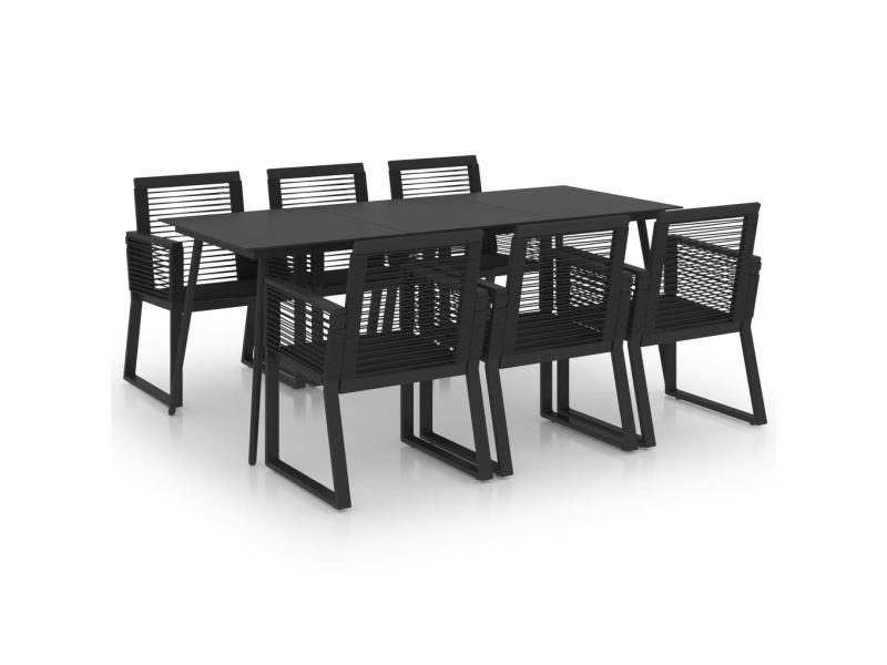 Vidaxl ensemble à dîner d'extérieur 7 pcs rotin pvc noir 3060217