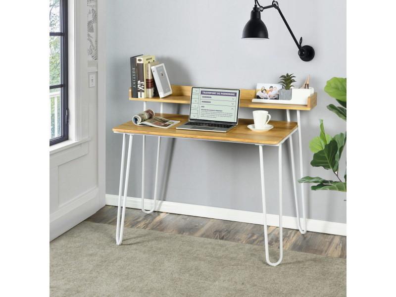 Bureau industreil bois clair et métal