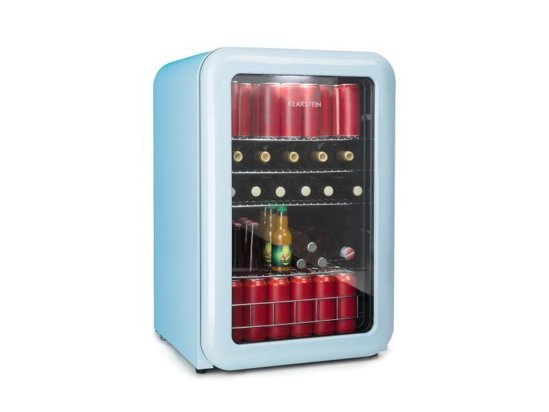 Klarstein poplife réfrigérateur à boissons minibar 115 litres 0-10°c design rétro bleu