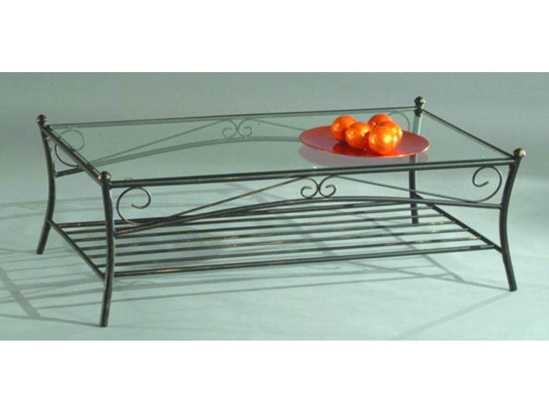 Table basse en tube d'acier/ verre trempé, 110x60x38cm -pegane-
