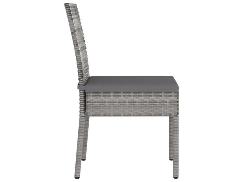 Vidaxl chaises de salle à manger de jardin 2 pcs résine tressée gris 315108