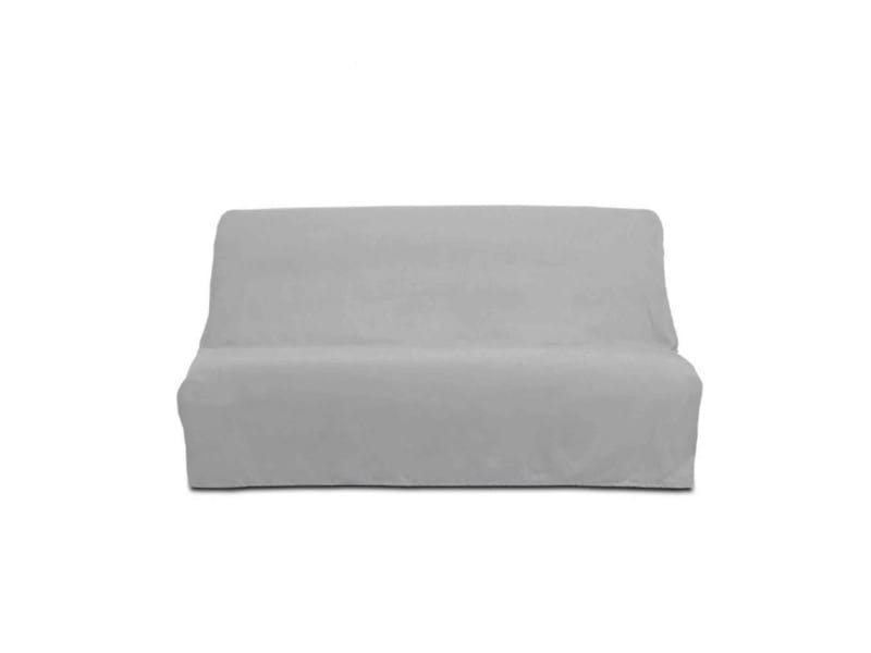 Housse de clic-clac unie 100% coton gris clair 140x190