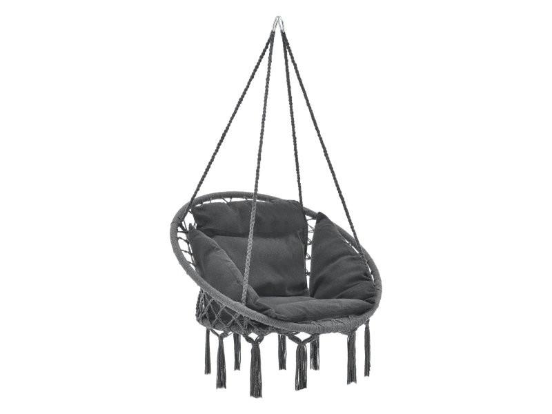 Hamac siège rond avec coussin chaise diamètre d'assise 60 cm gris foncé helloshop26 03_0006059