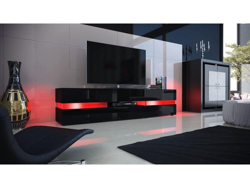 Meuble Tv Noir Mat Facade Laquee 177 Cm Avec Led Vente De Meuble Tv Conforama