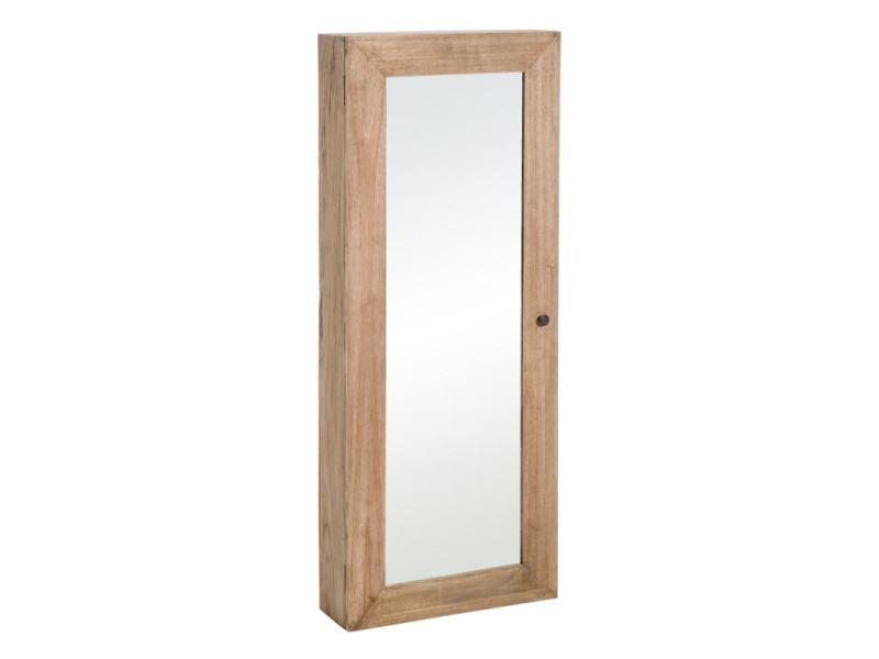 Armoire miroir d'entrée en bois naturel taille m - mikto - l 60 x l 18 x h 120 - neuf