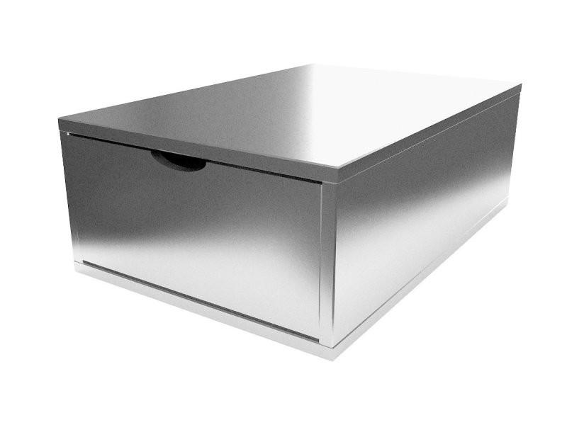 Cube de rangement bois 75x50 cm + tiroir gris aluminium CUBE75T-GA