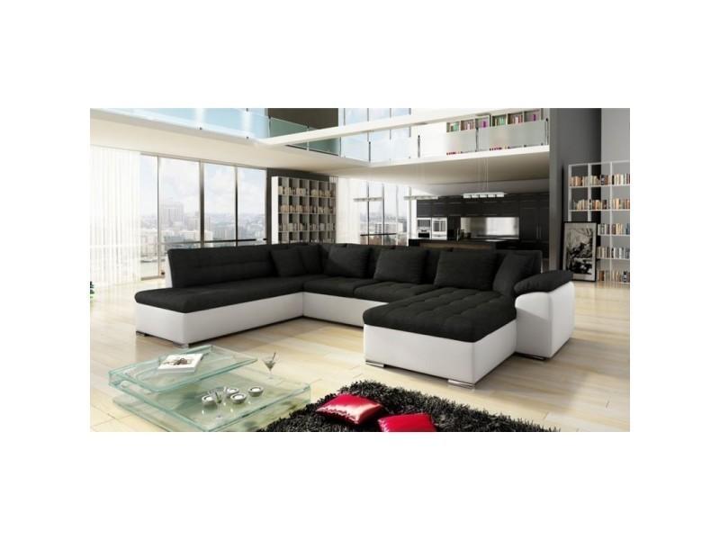 Grand Canape D Angle En U Design Alia Noir Et Blanc 7 Places