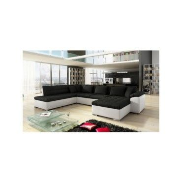 grand canap d 39 angle en u design alia noir et blanc 7 places tendencio vente de sans marque. Black Bedroom Furniture Sets. Home Design Ideas