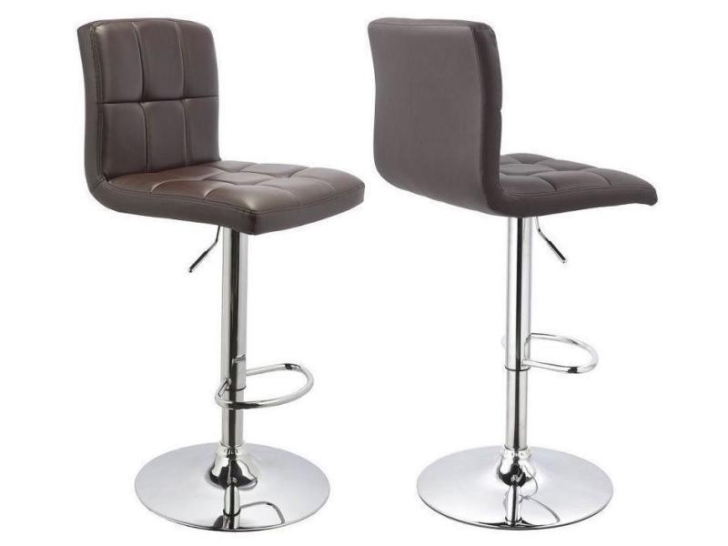 lot de 2 tabourets de bar avec dossier simili cuir hauteur r glable marron tdb09059 conforama. Black Bedroom Furniture Sets. Home Design Ideas