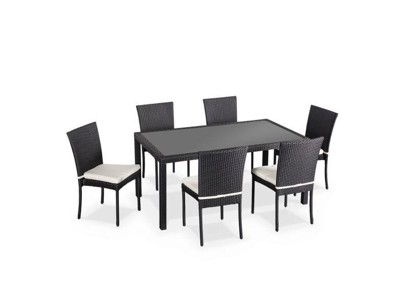salon de jardin en r sine tress e 6 chaises noir table d. Black Bedroom Furniture Sets. Home Design Ideas