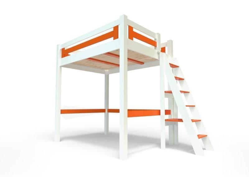 Lit mezzanine alpage bois + échelle hauteur réglable 140x200 blanc/orange ALPAGECH140-LBO