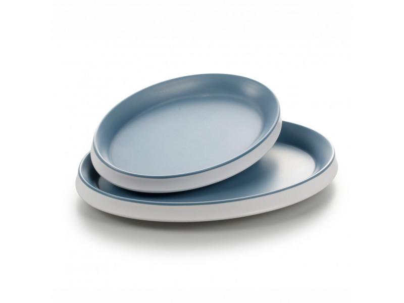 Plat ovale mélamine bleu 23 à 28 cm - pujadas - mélamine 23 x 16,5 cm