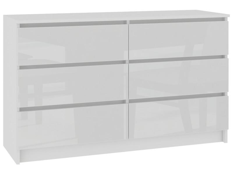Cupid - commode contemporaine chambre + salon + bureau 160x77x40 cm - 6 tiroirs coulissants - dressing chiffonier moderne - blanc laqué