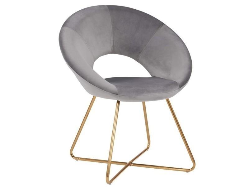 Fauteuil Chaise Lounge Design En Velours Gris Pieds Metal Fal09039