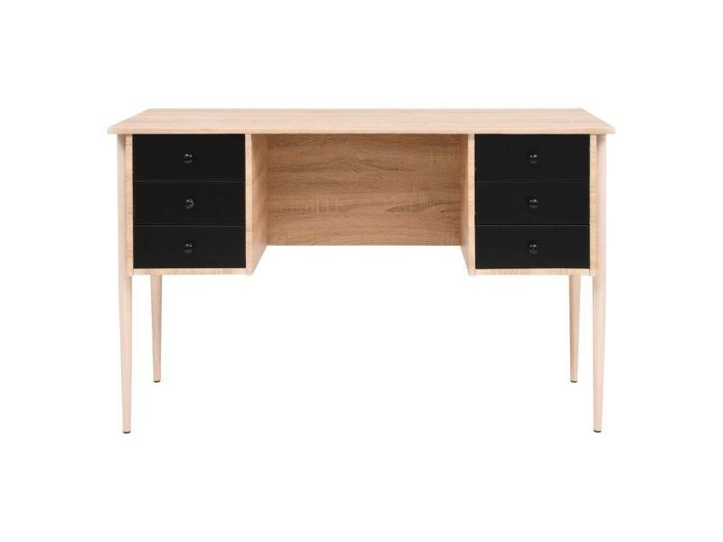 Icaverne bureaux moderne bureau à tiroirs 120 x 55 x 76 cm chêne