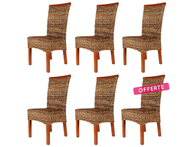 soldes 57 lot de 6 chaises malibu en abaca vente de chaise conforama. Black Bedroom Furniture Sets. Home Design Ideas
