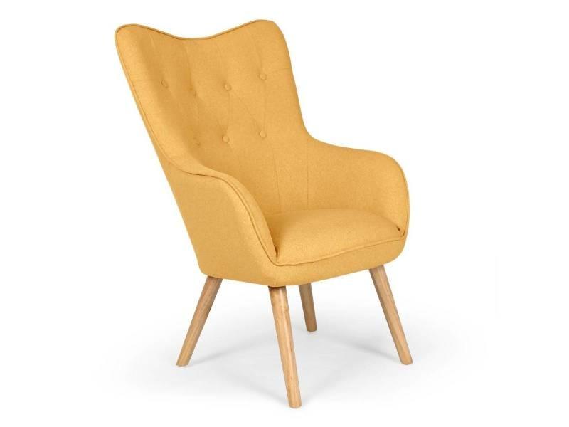 fauteuil scandinave barkley tissu jaune vente de tous. Black Bedroom Furniture Sets. Home Design Ideas