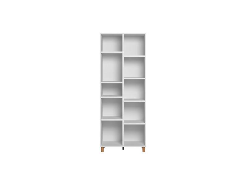 Homcom Biblioth/èque scandinave 3 niches Placard Double Porte Grand Plateau Pieds effil/és inclin/és Bois Massif Panneaux Particules Blanc Gris 2 /étag/ères