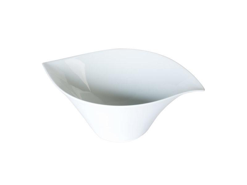 Saladier porcelaine blanche 36 cm forme feuille