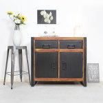 Buffet industriel 2 portes 2 tiroirs métal et bois coloré  |  mox25