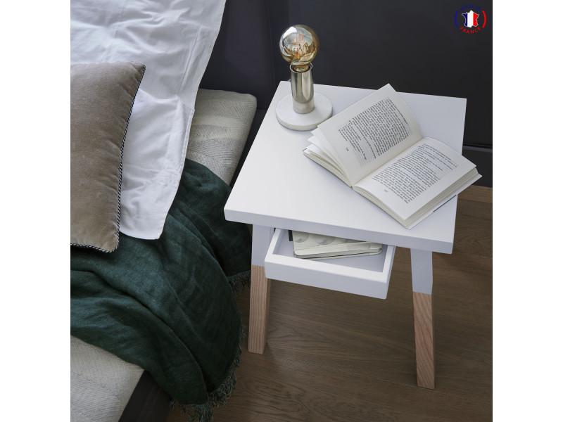2 chevets laqués, 1 tiroir en frêne 40x40 cm blanc balisson - 100% fabrication française