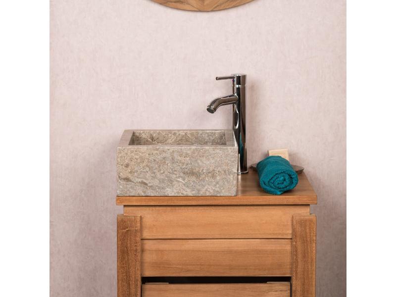 Vasque salle de bain à poser en marbre milan gris taupe 30cm ...