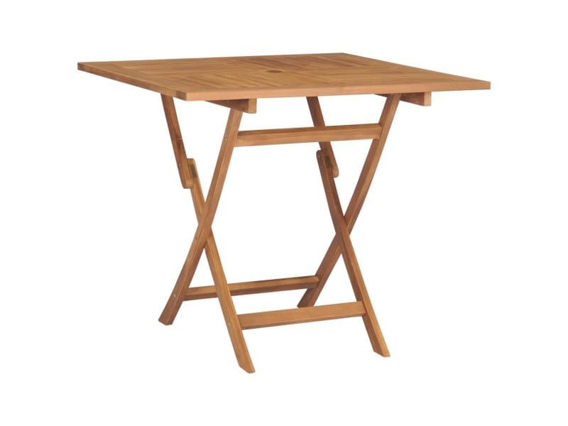 Contemporain mobilier de jardin serie gaborone table pliable de jardin 85x85x76 cm bois de teck solide