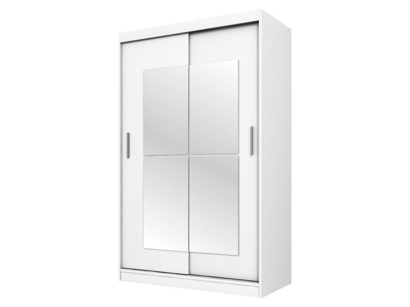 Armoire Avec Miroir Vaniva 120 Cm Blanc Portes Coulissantes Vente De Dressing Conforama