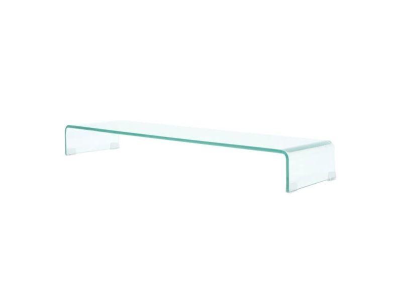 Meuble télé buffet tv télévision design pratique pour moniteur 100 cm verre transparent helloshop26 2502040