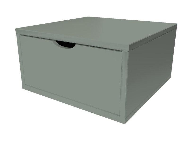 Cube de rangement bois 50x50 cm + tiroir gris CUBE50T-G
