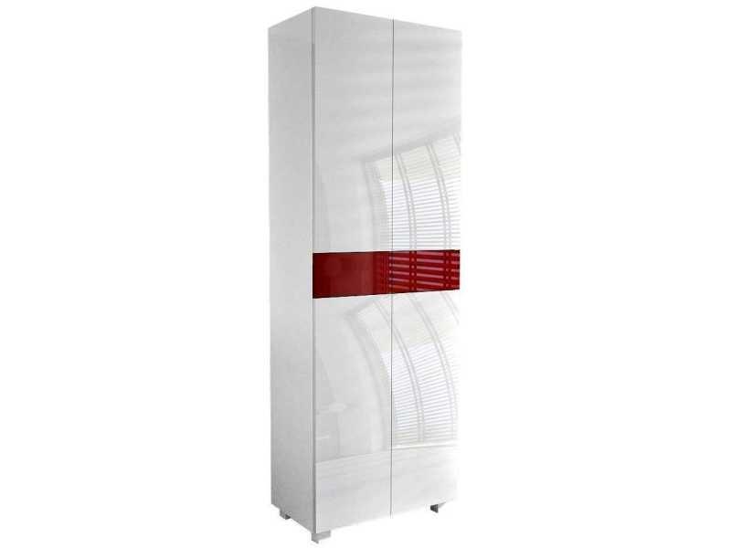 Meuble de salle de bain blanc mat / portes laquées blanc / bordeaux 170 x 60 x 34 cm