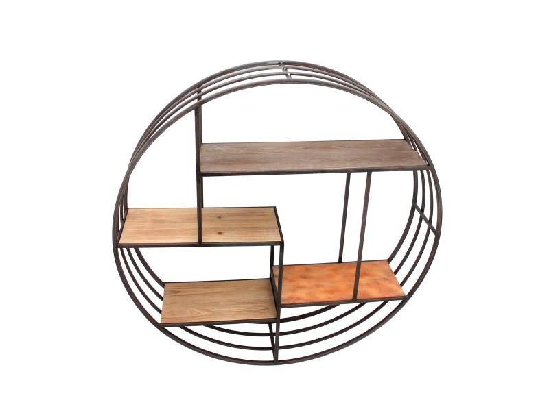 etag re ronde mix bois m tal conforama. Black Bedroom Furniture Sets. Home Design Ideas