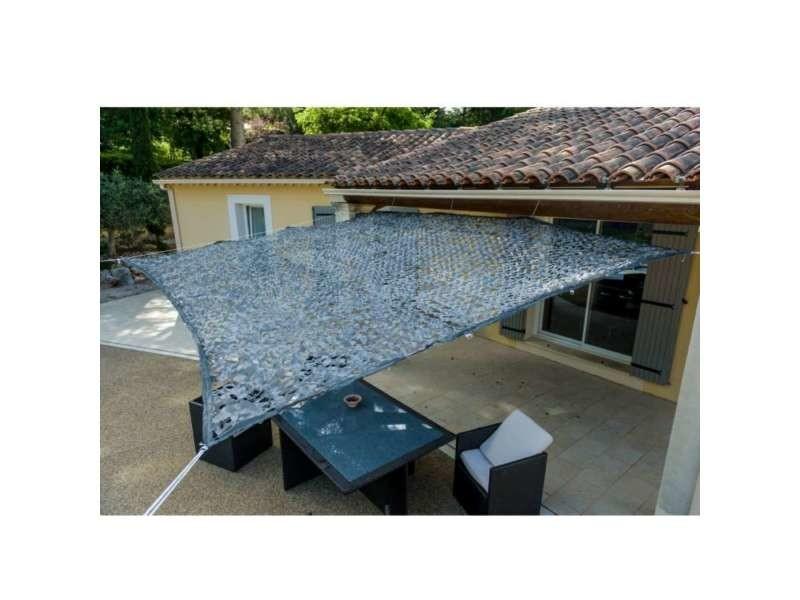 Toile d'ombrage ajourée grise carrée 3 x 3 mètres
