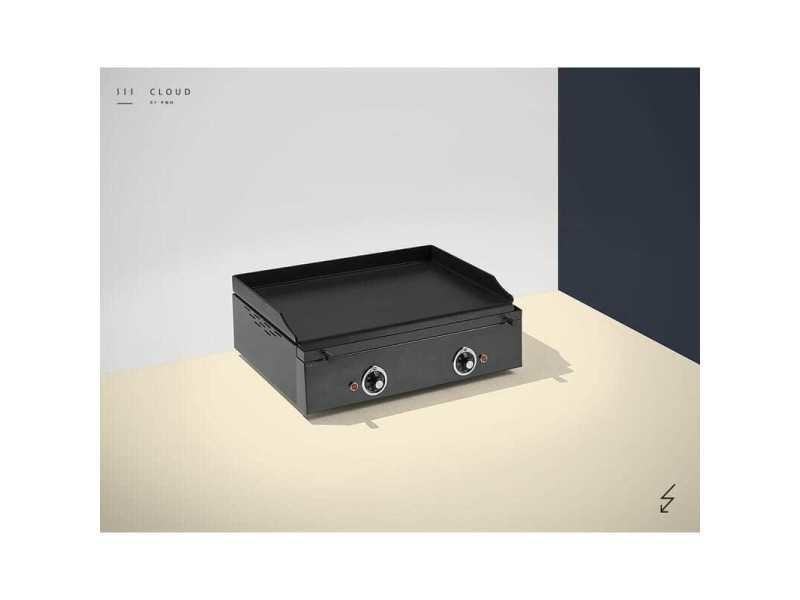 Plancha électrique colorée - 2 résistances - 600 x 400 x 226 mm - 6 mm d'épaisseur - pinha 2 - anthracite acier émaillé