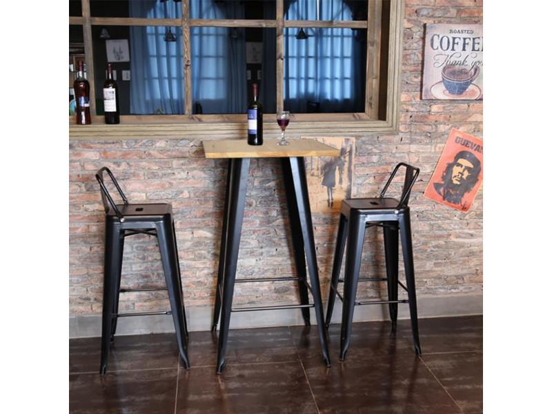 Hombuy® ensemble de table de bar couleur bois et 2 tabourets de bar gris style industriel pour bistrot, cuisine, jardin, restaurant