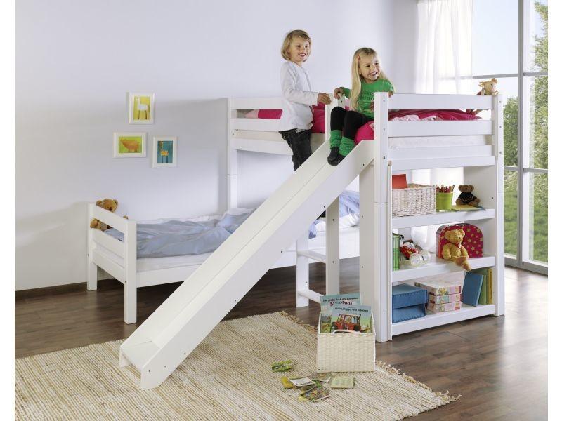lit superpos angulaire 90x200 avec toboggan coloris blanc vente de comforium conforama. Black Bedroom Furniture Sets. Home Design Ideas