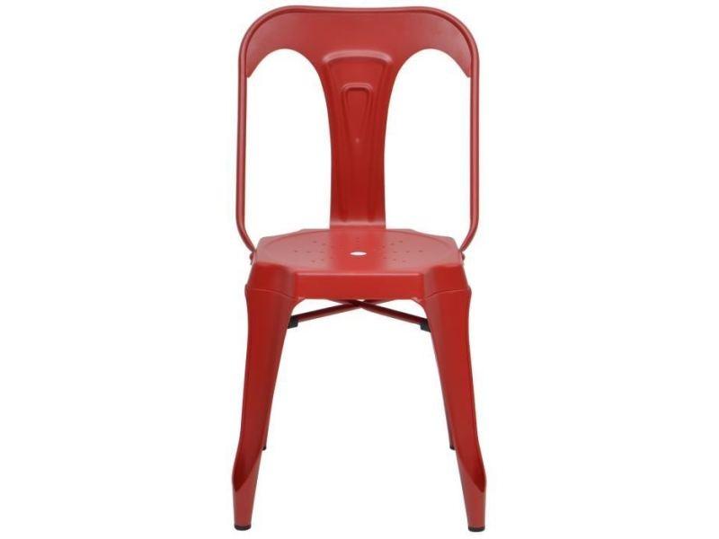 Chaise kraft zoeli lot de 2 chaises de salle a manger - métal rouge mat - style industriel - l 44 x p 53 cm