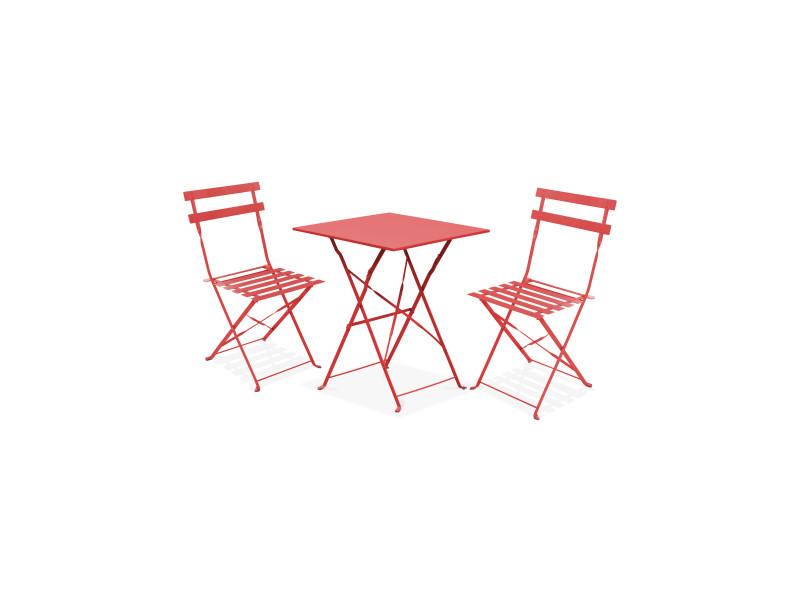 Table bistrot de jardin et 2 chaises pliantes vente de - Salon de jardin bistrot pas cher ...