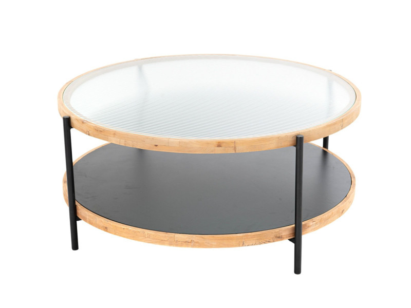 Table basse ronde en métal, verre et bois - leonce