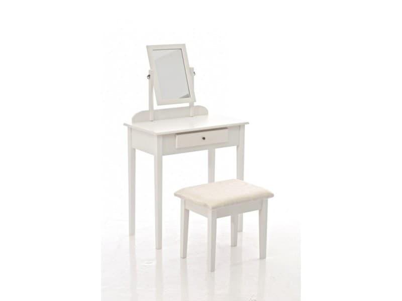 coiffeuse avec tabouret et miroir inclus en bois blanc moc10006 conforama. Black Bedroom Furniture Sets. Home Design Ideas