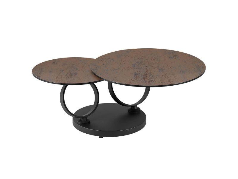 Vikli - table basse ronde plateaux verre effet céramique grisé