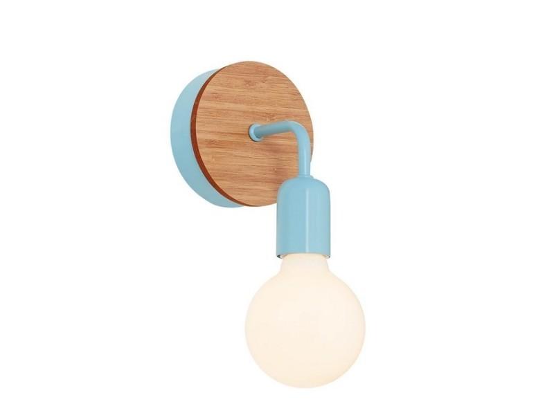 Homemania lampe murale valetta applique - bleu clair en bois, métal, 17 x 12 x 19 cm, 1 x e27, 40w