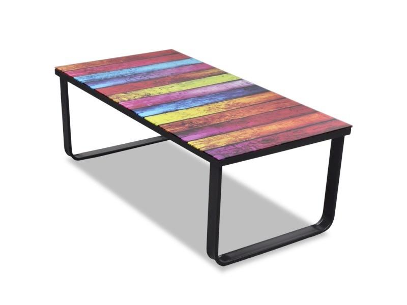 45 Basse Design Cm Verre 90 Table De Salon X Musique Multicolore WHI29ED