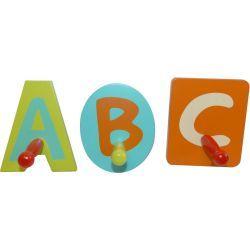 Patères pour enfant abc (lot de 3)