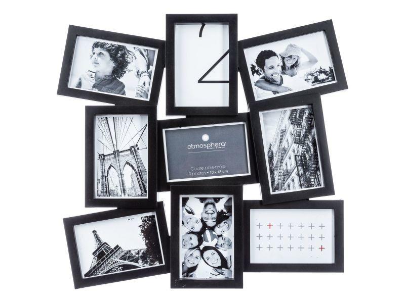 Pêle-mêle 9 photos evy - 48 x 46 cm - noir