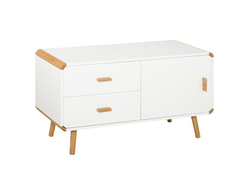 Meuble tv bas sur pieds style scandinave 2 tiroirs et placard mdf blanc bois massif bambou