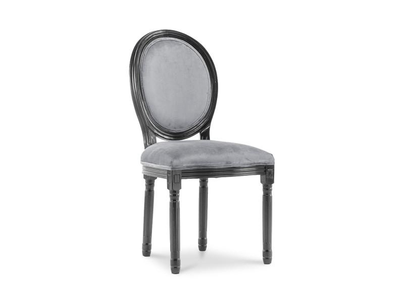 Lot de 6 chaises médaillon louis xvi velours gris - Vente de Chaise gLZ3I