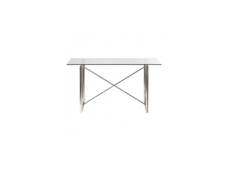 Table à manger design en verre et chrome spilt