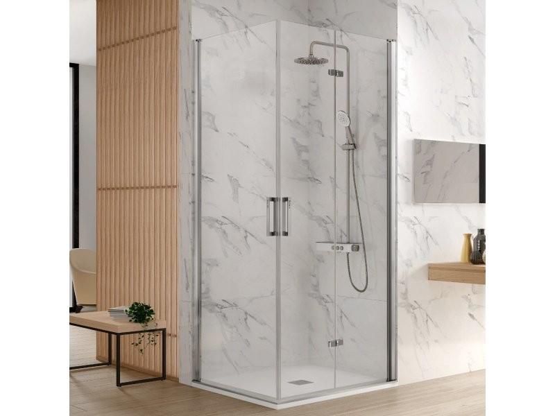 Paroi de douche accès en angle 1 porte pliante 85 cm + 1 porte pivotante 60 cm ancre de porte pliante à droite nardi